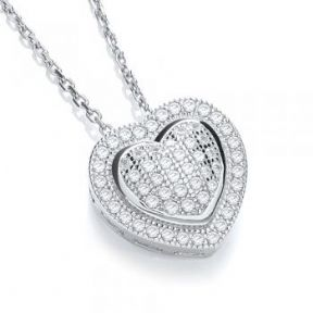 J-Jaz Micro Pave' Heart Pendant with 18
